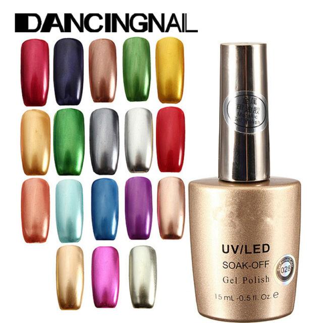 New Charm Metallic Soak Off Color Nail Art Tips Manicure Gel Polish Varnish 15ml