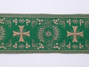 Orphrey-Vintage-Cruz-Oro-Cojos-Encendido-Verde-Vestment-Banda-11-4cm-Ancho-0-9m