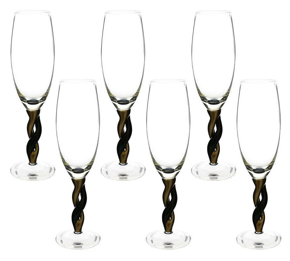 (D) Vin Flûte Lunettes Avec Or et Noir Tige 6-pc Set, style moderne Verrerie