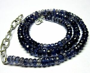 """106 CT Iolite Gemstone Rondelle Faceted Beads 17"""" NECKLACE 4.5-6.5 MM S52"""