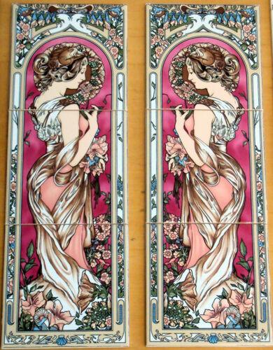 Art Nouveau Carrelage panneau décoratif 3 tuiles Bourgogne Art Nouveau Lady Made in UK