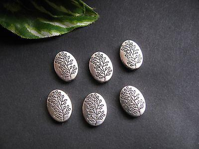 6 Metallperlen oval silberfarben 1,3cm Zwischenperle, Schmuck mit Perlen basteln
