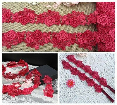 """1.5"""" *1Y Beautiful Venise Lace Trim~Scarlet Red+Coral Red~Royal Rose~Appealing~"""