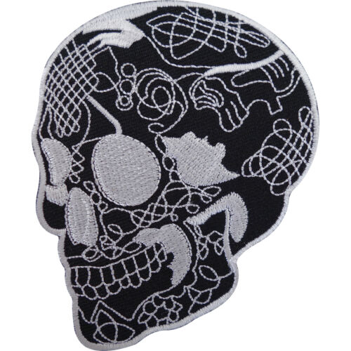 Black Skull Patch Embroidered Iron Sew On Motorcycle Jacket Bag Rockabilly Badge