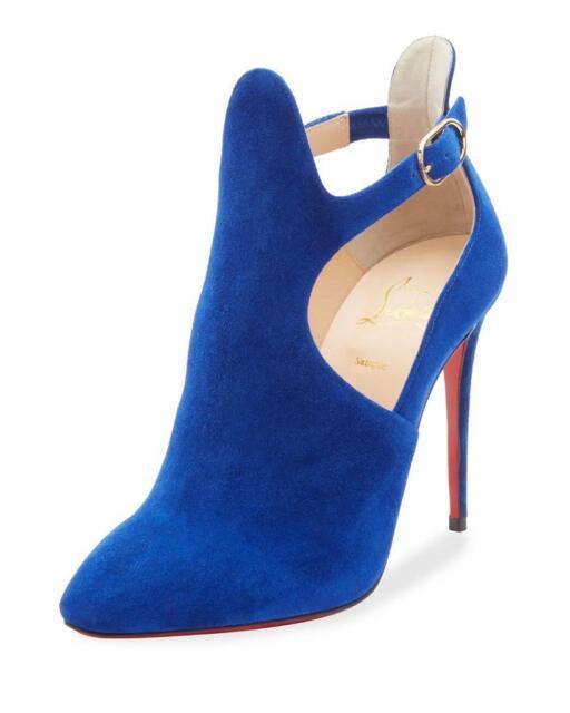 best loved dea33 5997a Christian Louboutin CANADADA 100 Cutout Booties Heels Sandals Shoes Blue  $995