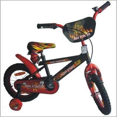 Kinderfahrrad 14 Zoll Rücktrittbremse Rad Fahrrad Stützräder Feuer design Sattel