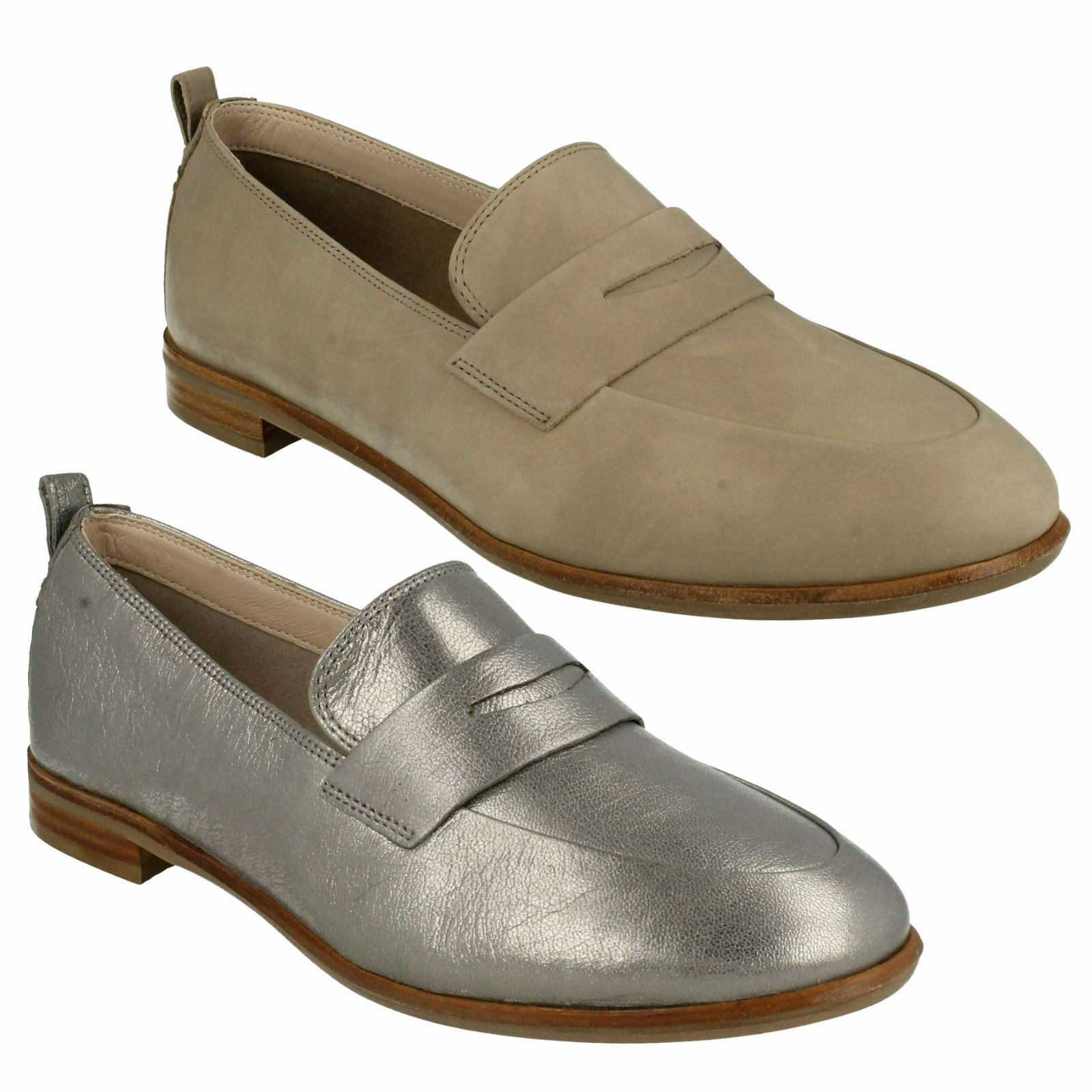 ALANIA BELLE LADIES CLARKS SLIP ON LEATHER  FLAT MOCCASIN LOAFERS CASUAL chaussures