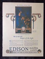 1921 Vintage Advertising Print~ Edison Mazda Lamp GE Works ~ Maxfield Parrish