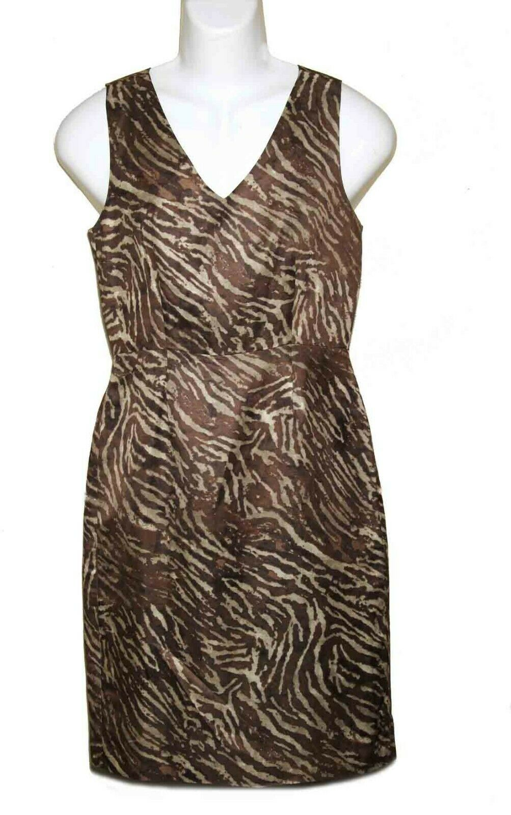 Banana Republic Dress Rayon Linen Animal Print Sleeveless Brown Tan Size 6