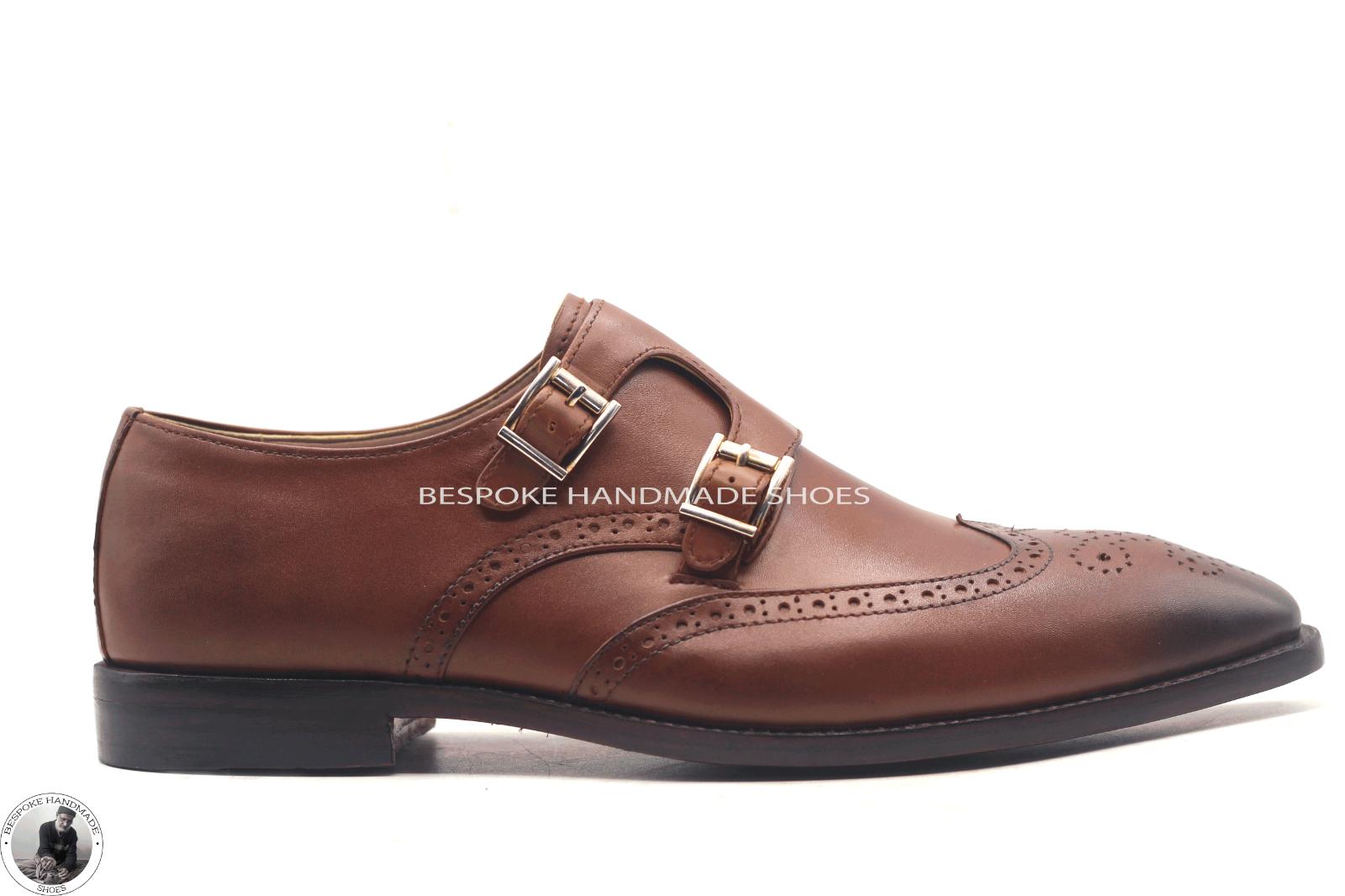 Handmade Herren braun Leather Double Monk Strap Flügelspitzen Brogue