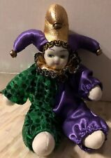 Porcelain Baby Clown Doll Mardi Gras Purple /& Blue New Orleans Good Luck Doll FS