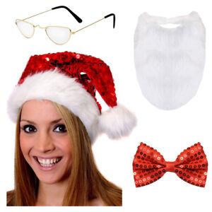 Adults Glamorous Santa Set Costume Sequin Glam Christmas Xmas Fancy Dress Ein Kunststoffkoffer Ist FüR Die Sichere Lagerung Kompartimentiert Damenkostüme Kleidung & Accessoires
