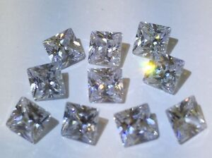 $400 Lot 10 X Princess Cut Russian AAAA Cubic Zirconia CZ 5mm 7 carat Wow!!