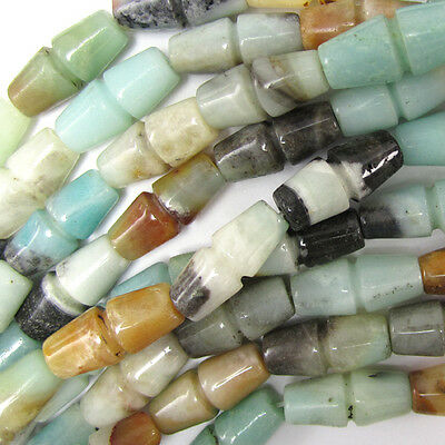 "18mm amazonite pyrite carved cylinder beads 16"" strand"