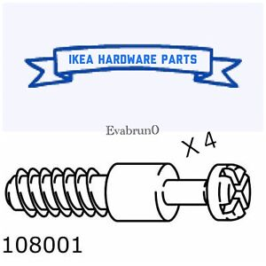 4 x IKEA # 108001 Assembly Dowel Wood Thread Fastener Screws Replacement PartS
