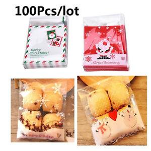 Fj-Am-100PCS-Natale-Babbo-Alce-Snack-Biscotti-Confezione-Sacchetti
