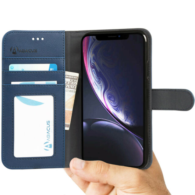 for iPhone XR Wallet Case Blue Leather Folio Flip Cover Stand - Abacus24-7