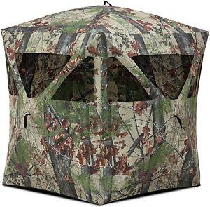 Barronett Radar Ground Hunting Blind, 2 Person Pop Up Portable, Backwoods Camo