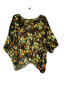 Democracy-Made-In-USA-Women-s-Brown-Lime-Green-Floral-Top-W-Rhinestones-Size-XL