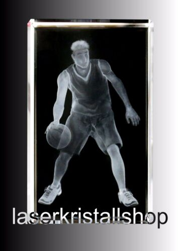 Basketballer Leuchtsockel 3D Laserkristall NEU.Hologramm