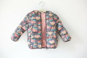 acee05e3 Details about Zara baby girl pink/grey reversible puffer coat jacket with  hood 12/18m