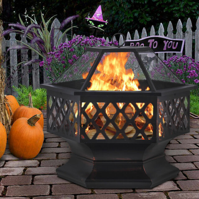 Wood Burning Fire Pit Fireplace Table