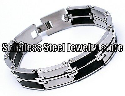 Mens Stainless Steel Bracelet Rubber Black Silver Wrist Bangles Heavy Chain SR83