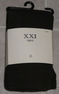 M-L-Forever-21-XXI-Hosiery-Ribbed-Tights-Chocolate-Brown