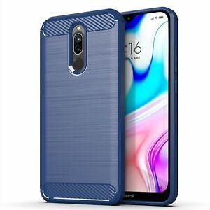 Xiaomi-Redmi-8-Case-Phone-Cover-Protective-Case-Carbon-Case-Blau