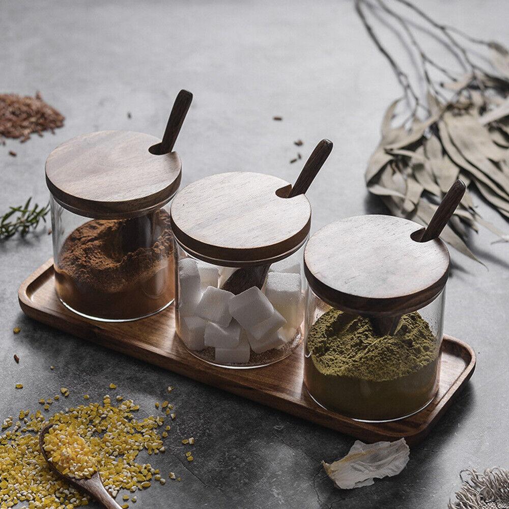 1pcs Glass Seasoning Jar Clear Spice Condiment Salt Cruet with Lid and Spoon