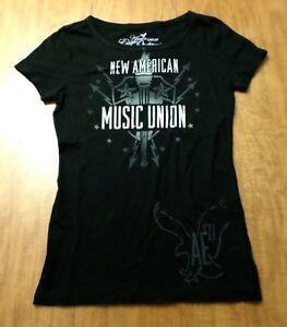 122da6d3dc453 NEW AMERICAN MUSIC UNION juniors tee XS Bob Dylan Raconteurs Black ...
