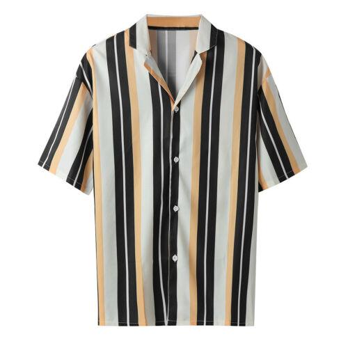 Men Boy Summer Fashion Shirts Casual Striped Shirts Short-Sleeve Tops Blouse US
