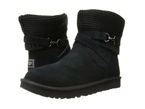 c42b2934ca6 Details about UGG®- WN-Purl Strap Boots-1098080 - Suede/ Purl  Knit-100%Authentic-Black