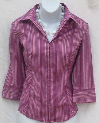 Women's DCC MISSY Purple Striped 3/4 Sleeve Zip Front Blouse Size M