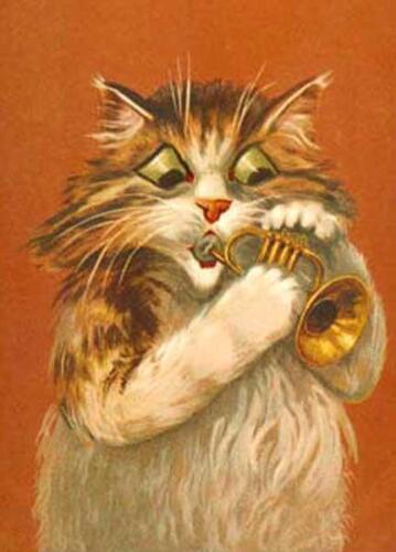 FROM BOULANGER POSTCARD CHAT FRIDGE MAGNET CAT KATZE PLAYING TRUMPET