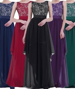 Women-Evening-Formal-Party-Cocktail-Bridesmaid-Prom-Ball-Gown-lace-Long-Dress