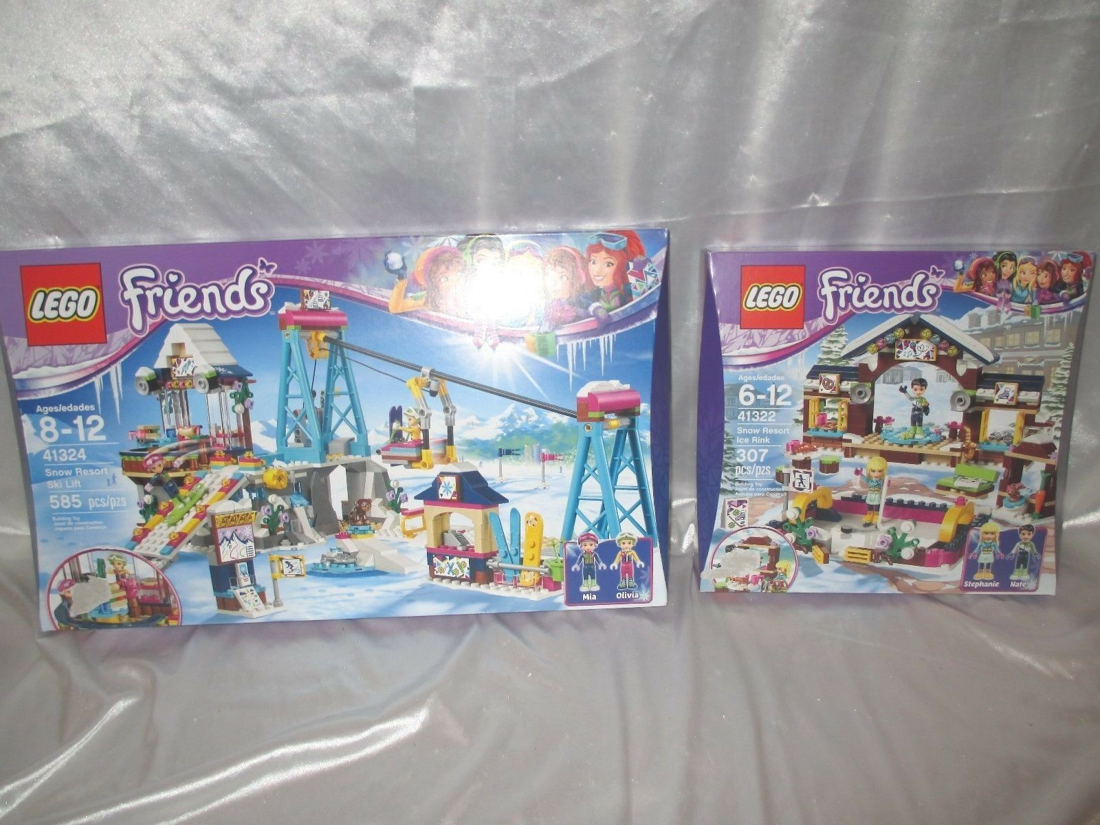 Lego Friends (2 sets) Snow Resort Ski Lift 41324 Snow Resort Ice Rink 41322 Lot