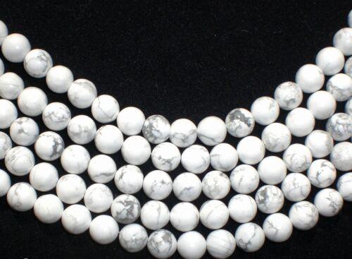 HOWLITH weiß 8mm Perlen Kugeln rund Schmuckperlen Edelstein 1 Strang