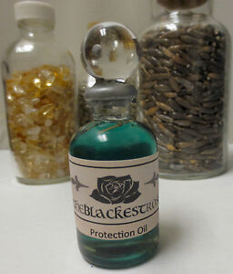 Details about The Blackest Rose Protection Oil with herbs, oils and crystals