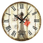 Home Decor Wall Clock Round Wooden Retro Vintage Style Paris Eiffel Tower Stamp