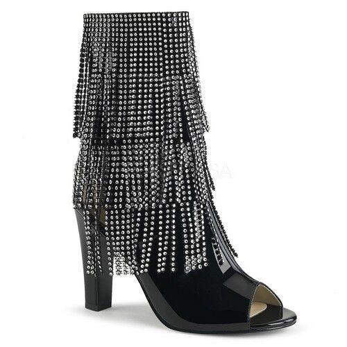 Pleaser Queen - 100 Mujer Negro Patente Punta Abierta Tacón De Flecos tobillo botas de mitad de la pantorrilla