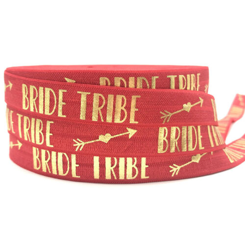 """10Y//lot 5//8/"""" Bride Tribe Metallic Gold Foil Fold Over Elastic Ribbon Hen Party"""