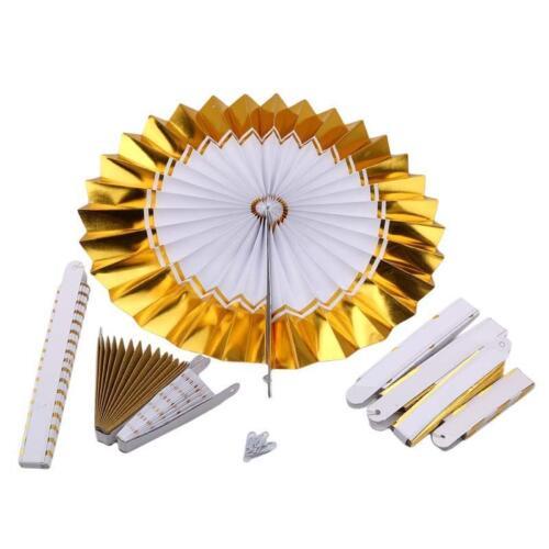 8X papier tissu roue tournante Hanging Fan Party Decor pliable Mariage Décoration H