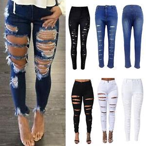 6dec17dd244ea9 Das Bild wird geladen Damen-High-Waist-Jeans-Hose-Zerrissen-Skinny- Damenjeans-