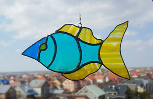Stained-Glass-Suncatcher-Blue-Yellow-Fish-Handmade
