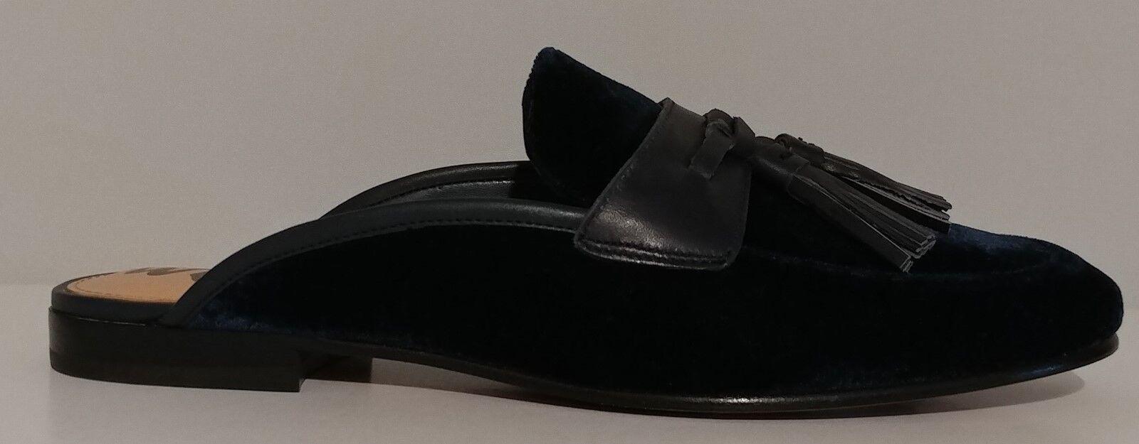NEW   Sam Edelman Edelman Edelman bluee Velvet Tassell Slides Flat shoes Size 8.5M US 38.5M EUR 8cd43c