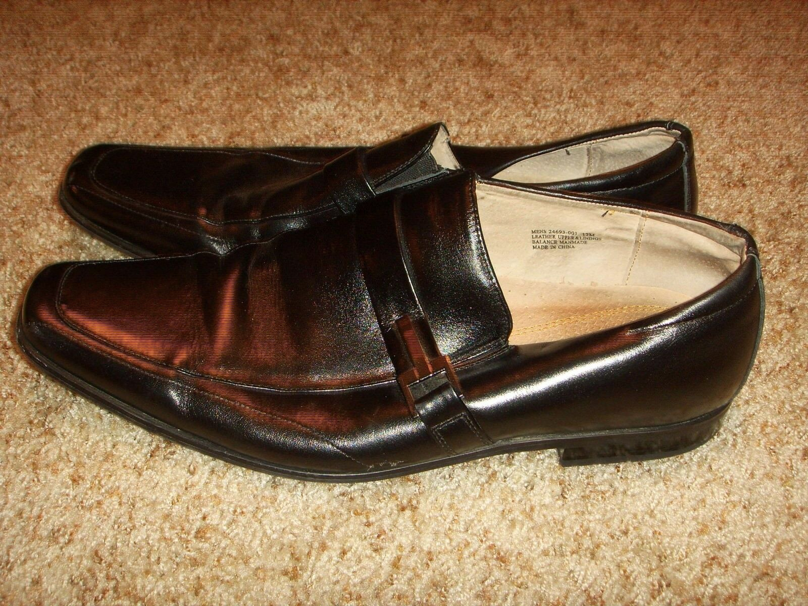 Stacy Adams 24693-001 Black Leather Slip On Loafer Shoes Mens Size 12M