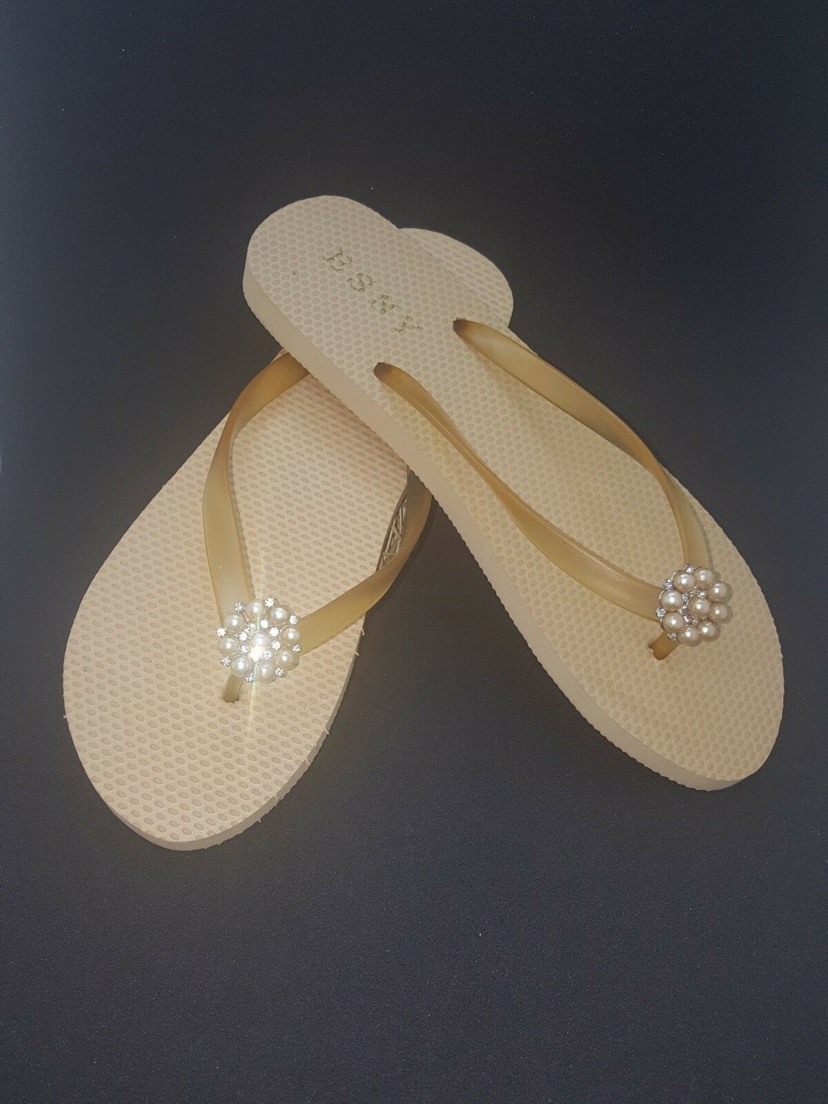 ESNY Flip Flop With Size Diamond Stone Beige  Size With 9 f11030