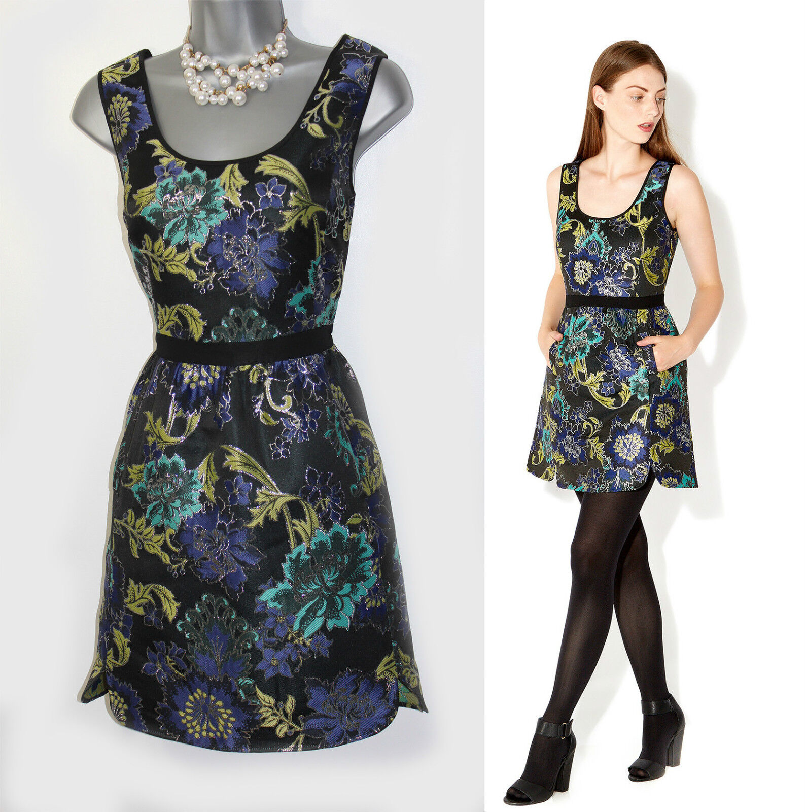MONSOON Angelica Jacquard Cocktail Prom Tunic Mini Dress UK 12
