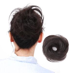 Straight-Human-Hair-Scrunchie-Elastic-Hair-Band-Wrap-On-For-Bun-Ponytails